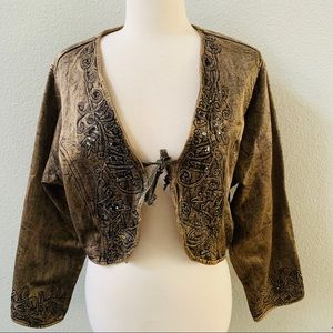 FLASHBACK COUTURE embroidered cropped jacket NWT